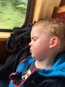 Asleep on the train with Daddy